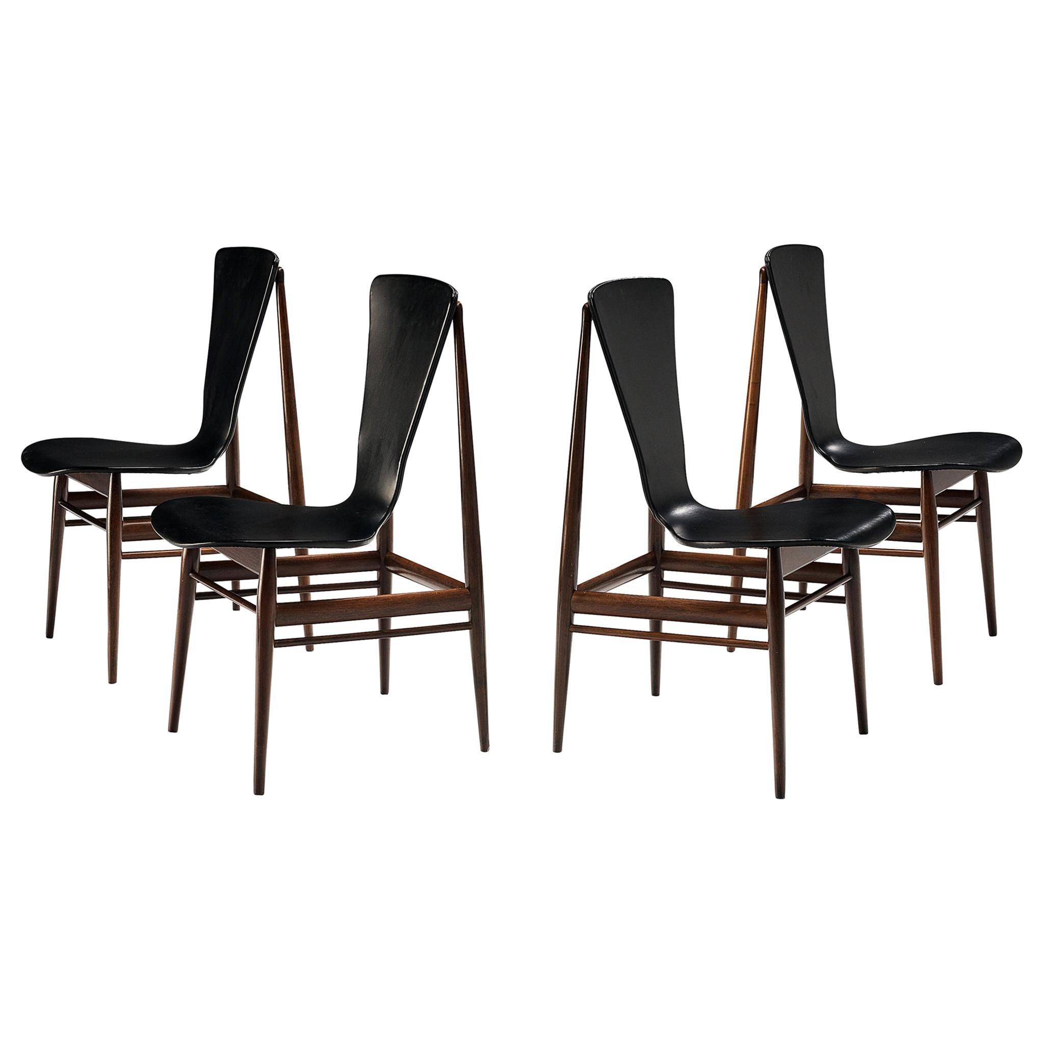 Set of Four Dining Chairs with Sculptural Back