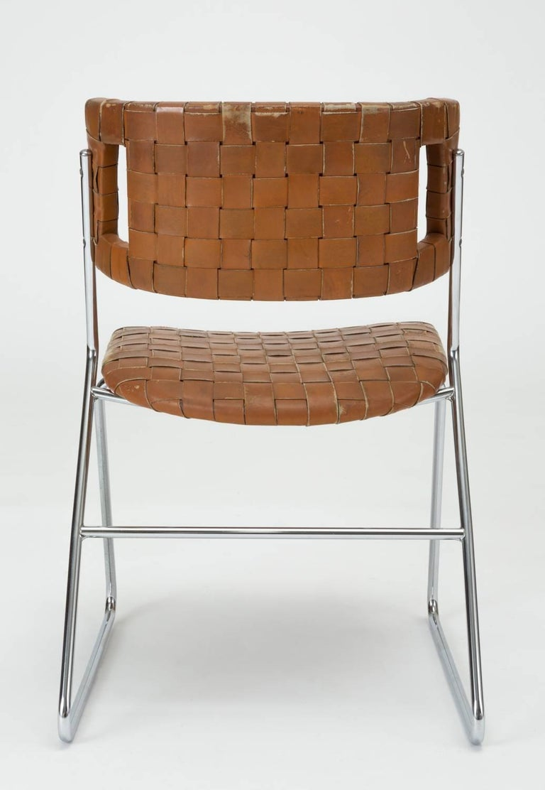 Set of Four Dining Chairs with Woven Leather Upholstery by Chromcraft For Sale 3