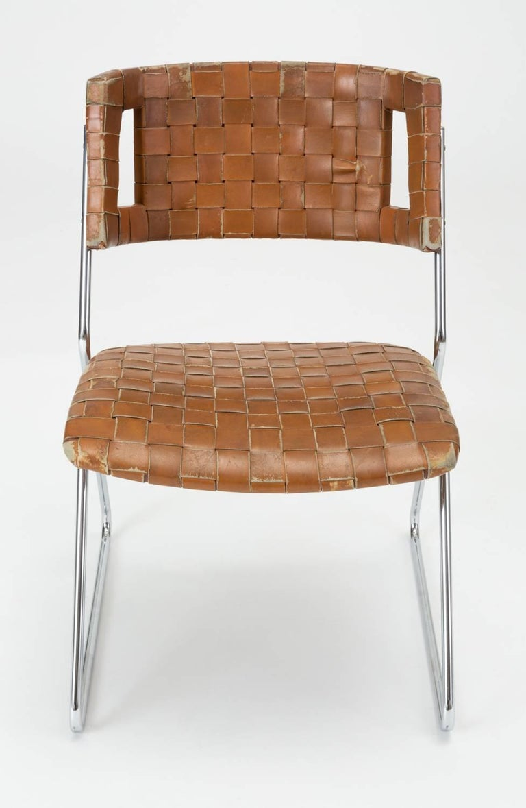 Mid-Century Modern Set of Four Dining Chairs with Woven Leather Upholstery by Chromcraft For Sale