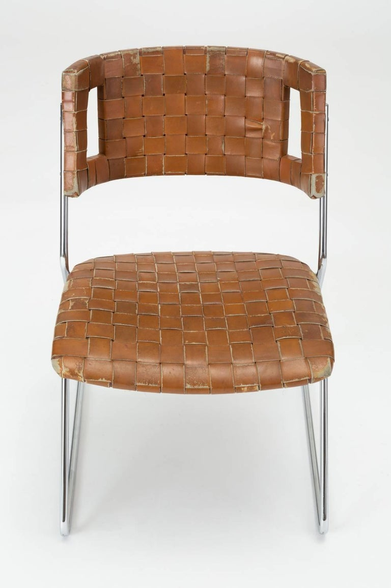 American Set of Four Dining Chairs with Woven Leather Upholstery by Chromcraft For Sale
