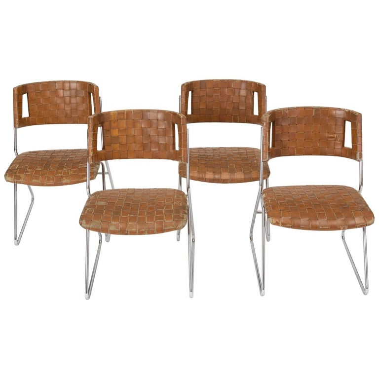 Set Of Four Dining Chairs With Woven Leather Upholstery By