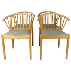 Set of Four Dining Room Chairs in Beech of Danish Design from the 1960s