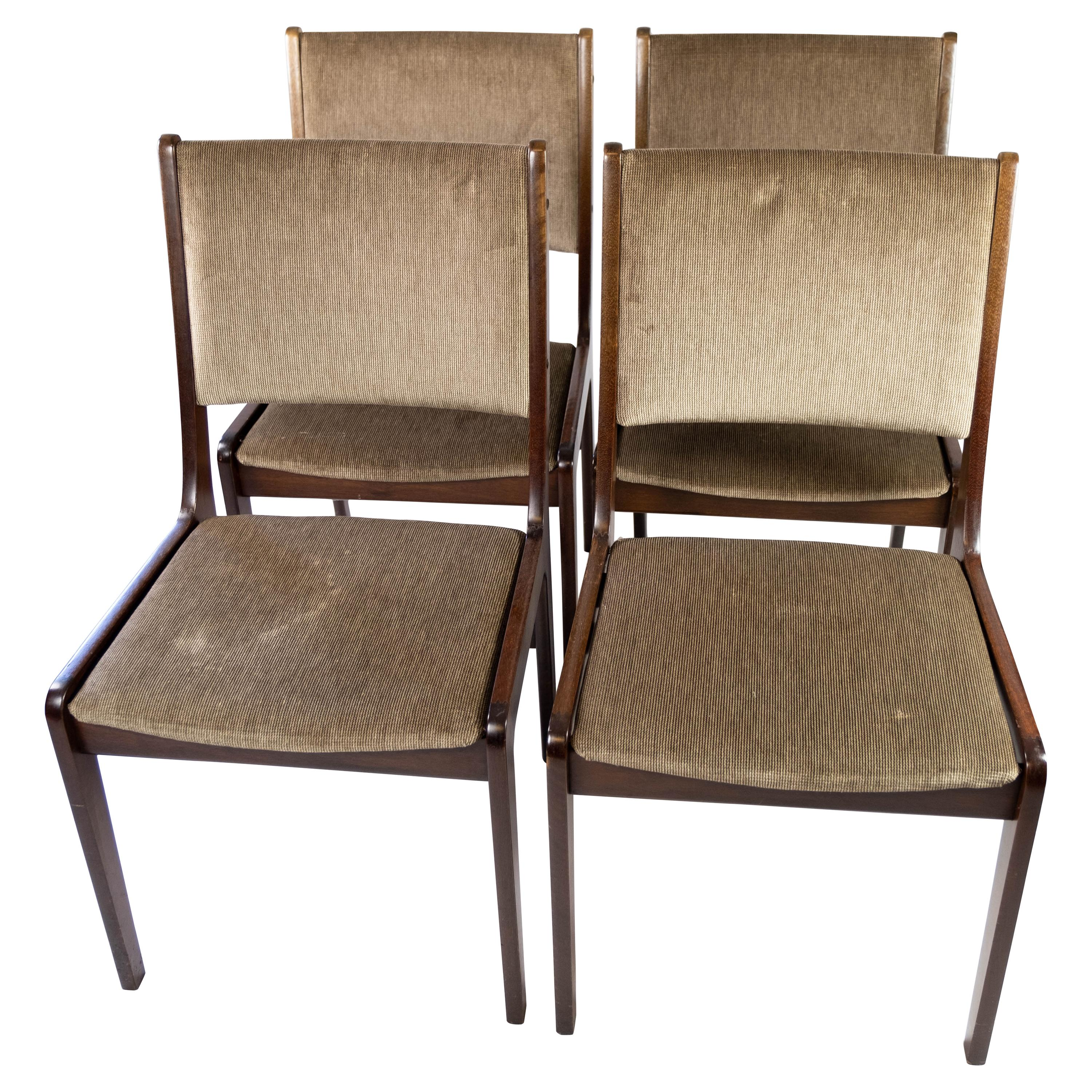 Set of Four Dining Room Chairs in Dark Wood of Danish Design by Faarstrup, 1960s
