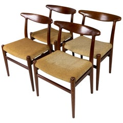 Set of Four Dining Room Chairs, Model W2, Designed by Hans J. Wegner, 1960s