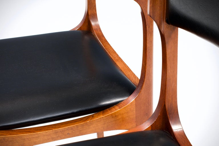 Set of Four Dining Chairs in Oak and Faux Leather by Giuseppe Gibelli, 1962 For Sale 1