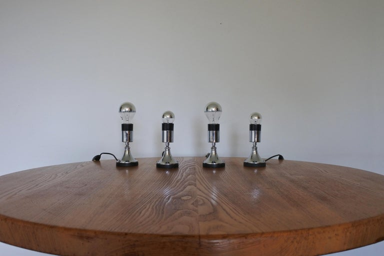 Set of Four Directional Table Lamps, Chromed Metal, France 1960s For Sale 5