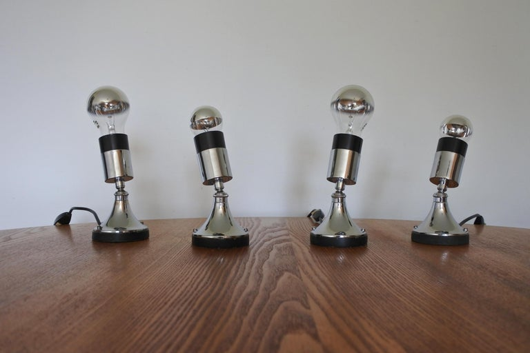 Set of Four Directional Table Lamps, Chromed Metal, France 1960s For Sale 6