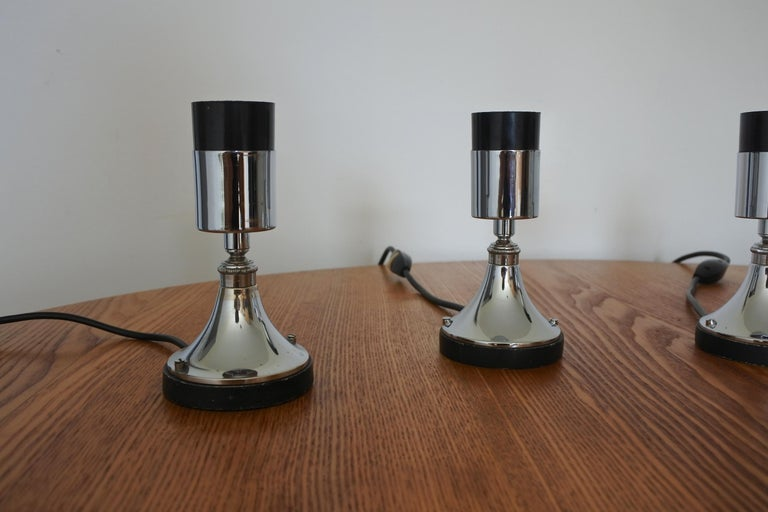 Minimalist Set of Four Directional Table Lamps, Chromed Metal, France 1960s For Sale