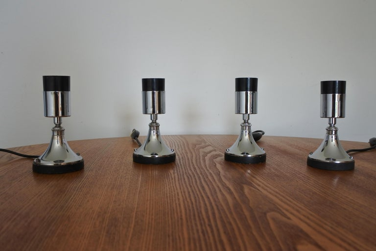 European Set of Four Directional Table Lamps, Chromed Metal, France 1960s For Sale