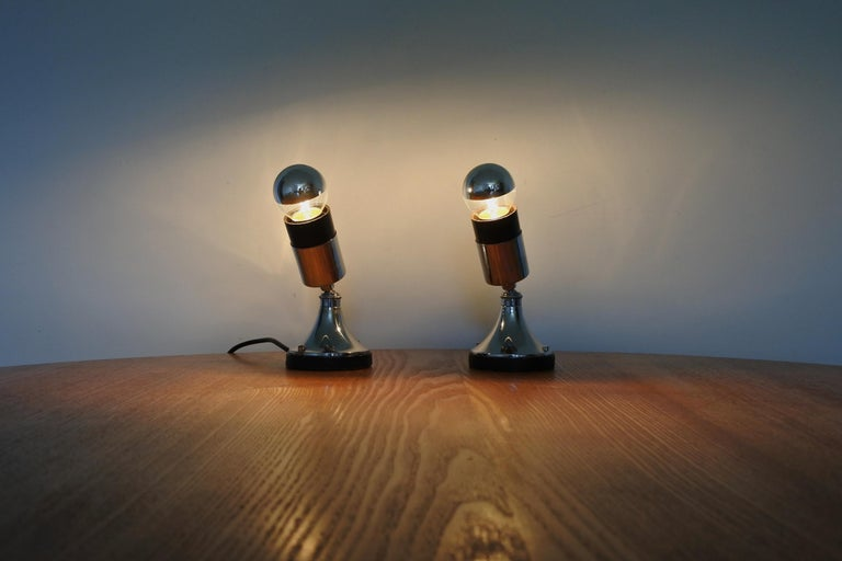 Set of Four Directional Table Lamps, Chromed Metal, France 1960s For Sale 2