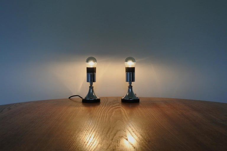 Set of Four Directional Table Lamps, Chromed Metal, France 1960s For Sale 3