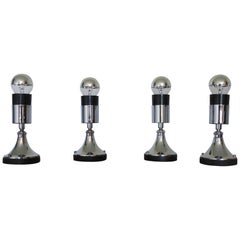 Set of Four Directional Table Lamps, Chromed Metal, France 1960s