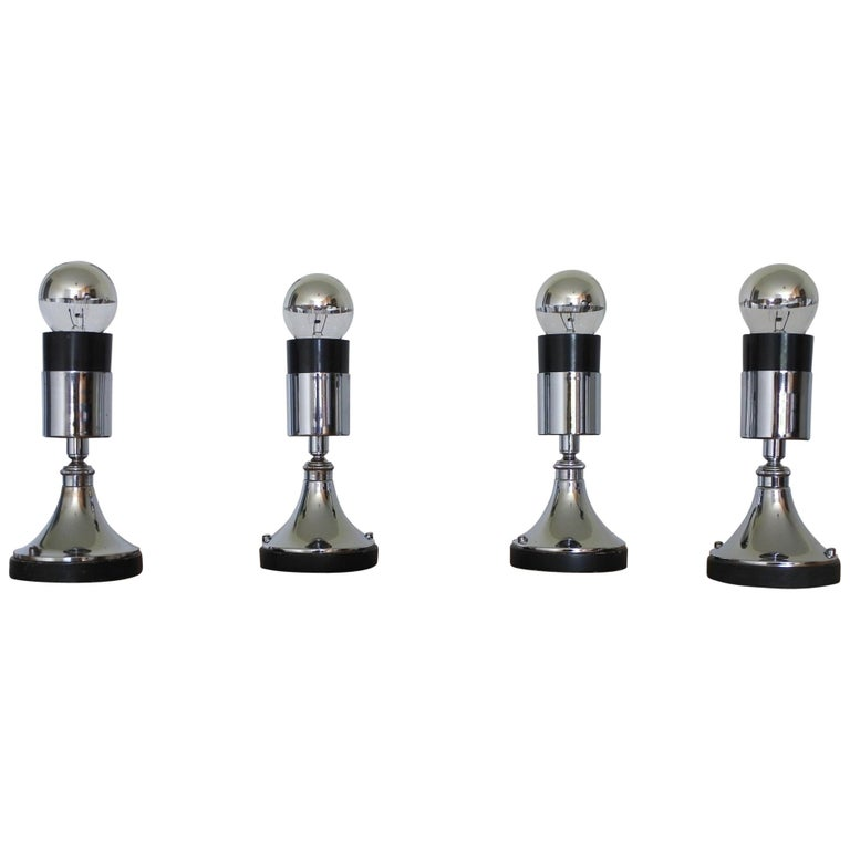 Set of Four Directional Table Lamps, Chromed Metal, France 1960s For Sale