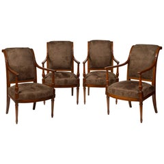 Set of Four Directoire Mahogany Armchairs by Jacob Freres
