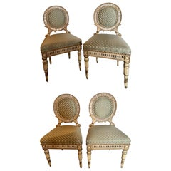 Set of Four Directoire Style Antique Side Chairs, New Scalamandre Fabric, 1930s
