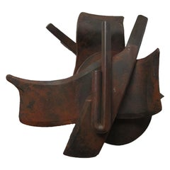 Set of Four Door Handles in Forged Patinated Steel by Albert Paley, Mid 1990s