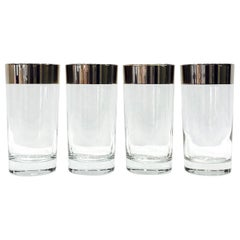 Set of Four Dorothy Thorpe Midcentury Barware Glasses with Silver Overlay, 1960