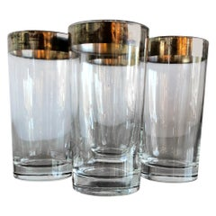 Set of Four Dorothy Thorpe Silver Band at Top Overlay Tall Cocktail Glasses