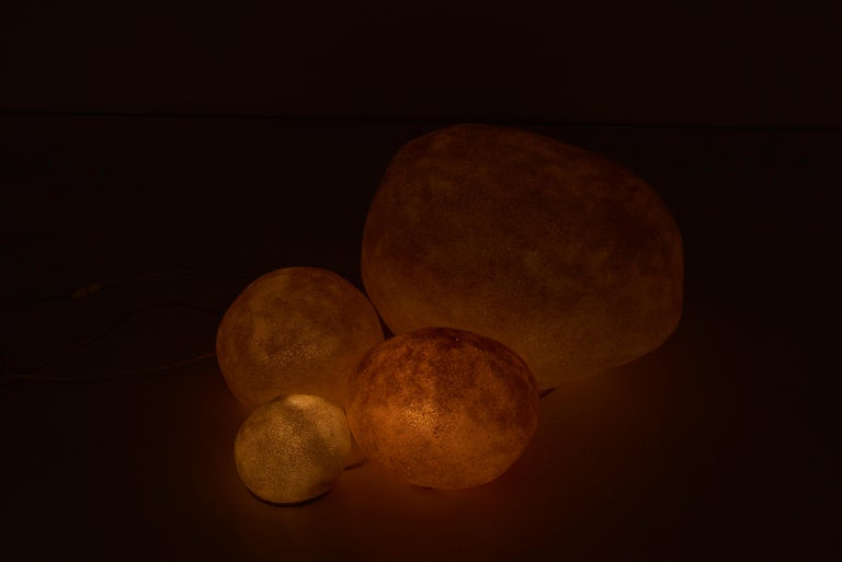 Set of Four Dorra Stone Rock Shaped Lamps by André Cazenave for Atelier A, 1960s For Sale 5