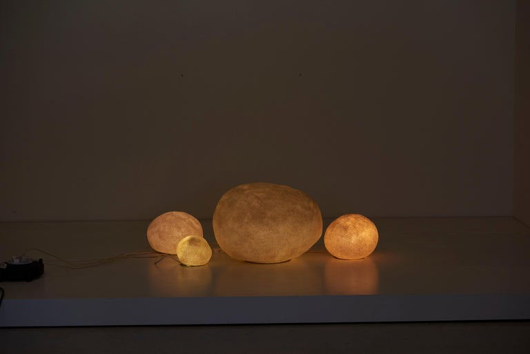 Modern Set of Four Dorra Stone Rock Shaped Lamps by André Cazenave for Atelier A, 1960s For Sale
