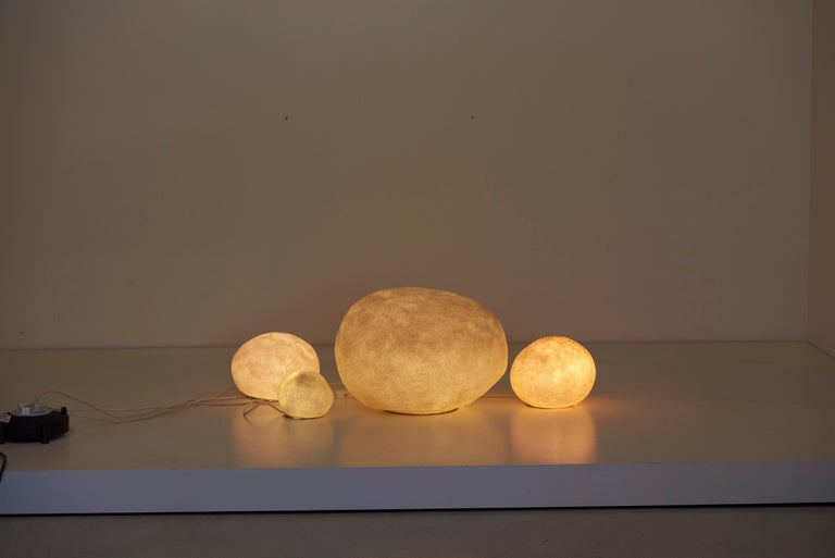 French Set of Four Dorra Stone Rock Shaped Lamps by André Cazenave for Atelier A, 1960s For Sale