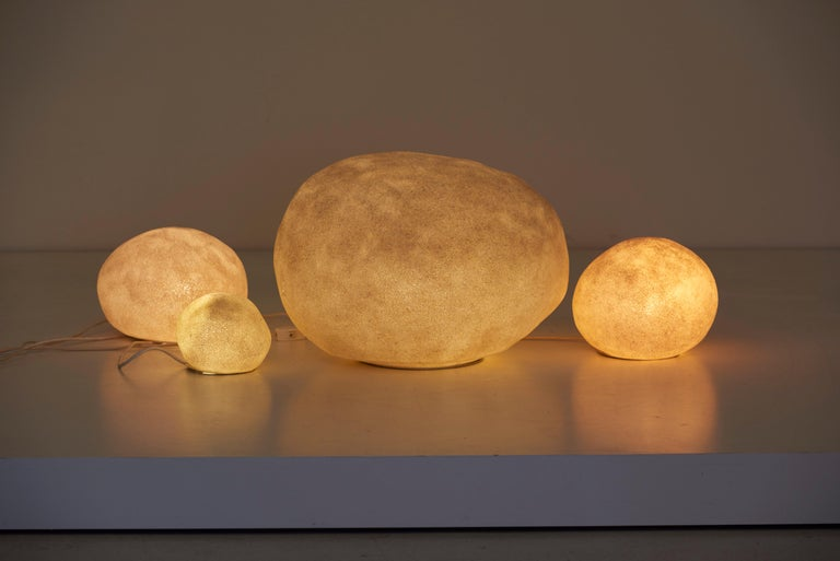 Powder-Coated Set of Four Dorra Stone Rock Shaped Lamps by André Cazenave for Atelier A, 1960s For Sale