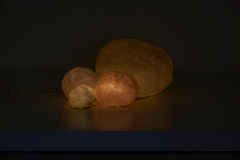 Mid-20th Century Set of Four Dorra Stone Rock Shaped Lamps by André Cazenave for Atelier A, 1960s For Sale