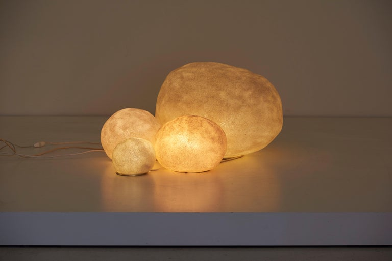 Marble Set of Four Dorra Stone Rock Shaped Lamps by André Cazenave for Atelier A, 1960s For Sale