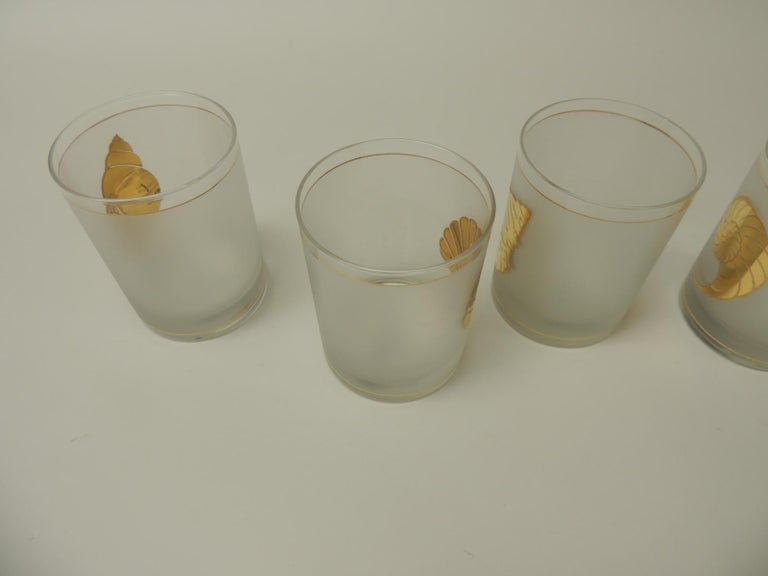 Mid-Century Modern Set of Four Double Old-Fashioned Frosted Glass Drinking Glasses For Sale