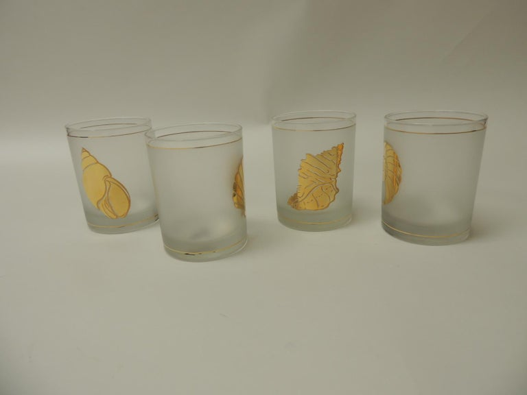 Hand-Crafted Set of Four Double Old-Fashioned Frosted Glass Drinking Glasses For Sale