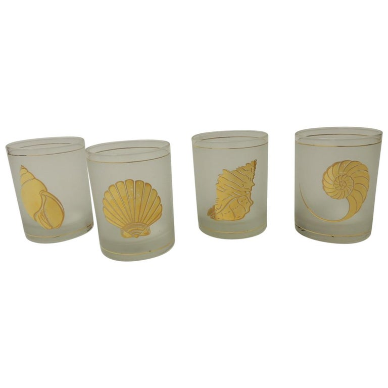 Set of Four Double Old-Fashioned Frosted Glass Drinking Glasses For Sale