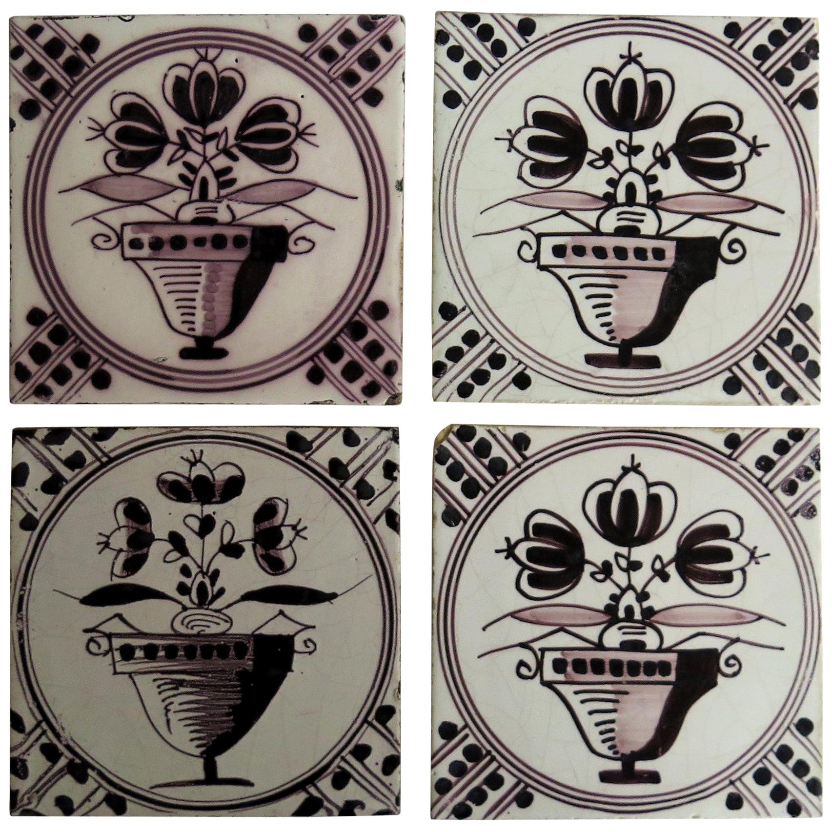 Set of FOUR Dutch Delft Earthenware Tiles Manganese Hand Painted, Mid 19th C.
