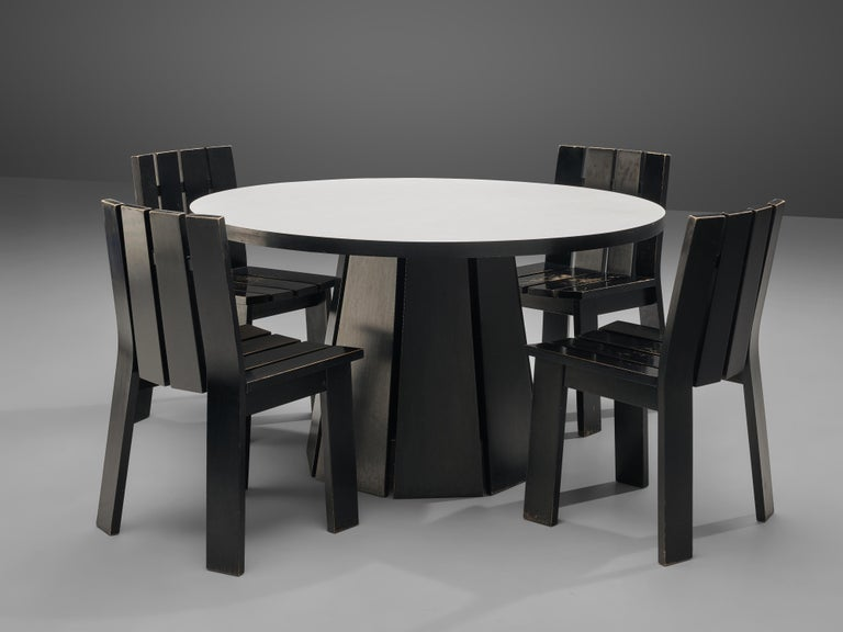 Set of Four Dutch Dining Chairs in Black Colored Wood For Sale 5