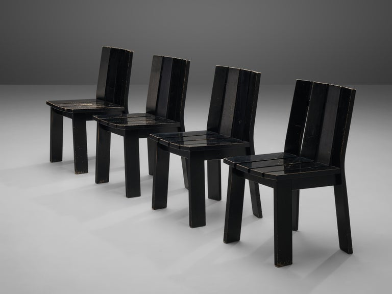 Set of Four Dutch Dining Chairs in Black Colored Wood In Good Condition For Sale In Waalwijk, NL