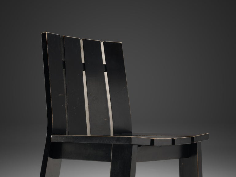Late 20th Century Set of Four Dutch Dining Chairs in Black Colored Wood For Sale