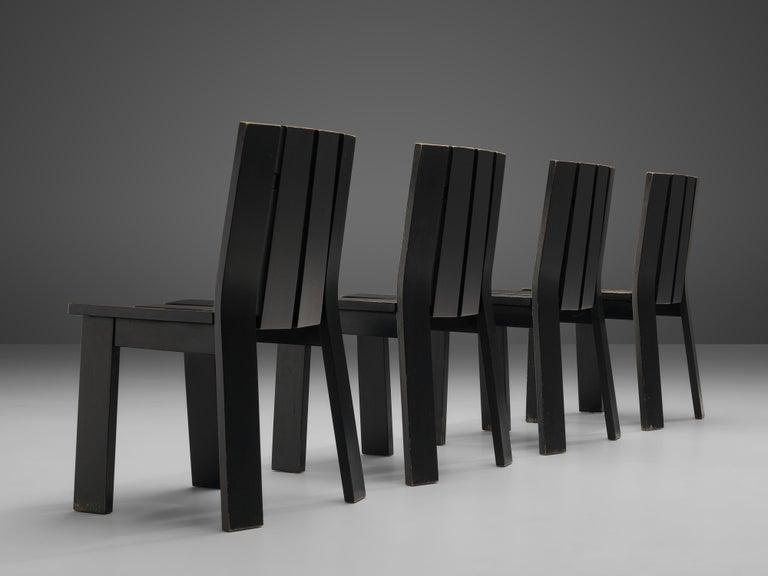 Set of Four Dutch Dining Chairs in Black Colored Wood For Sale 1