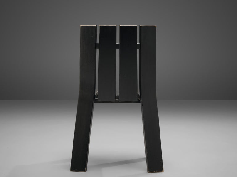 Set of Four Dutch Dining Chairs in Black Colored Wood For Sale 2