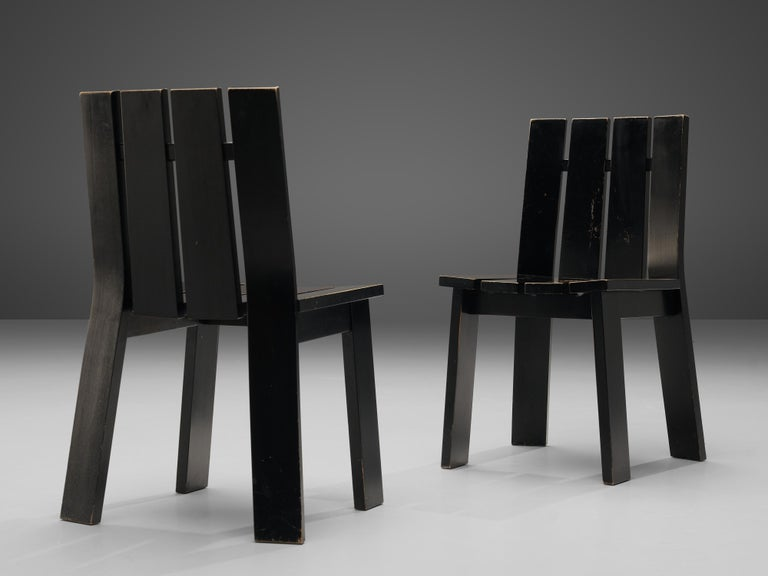 Set of Four Dutch Dining Chairs in Black Colored Wood For Sale 3