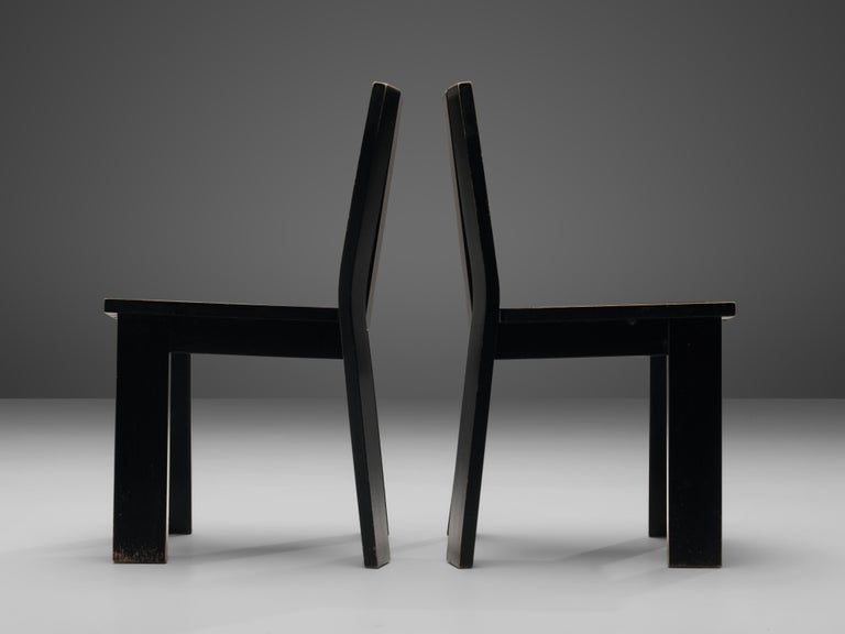 Set of Four Dutch Dining Chairs in Black Colored Wood For Sale 4