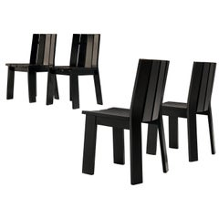 Set of Four Dutch Dining Chairs in Black Colored Wood
