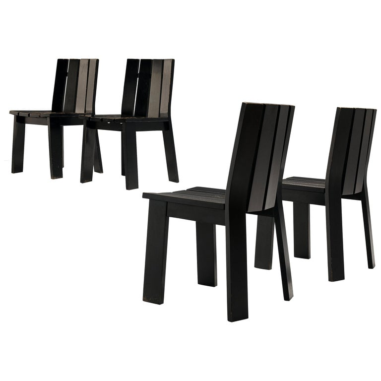 Set of Four Dutch Dining Chairs in Black Colored Wood For Sale