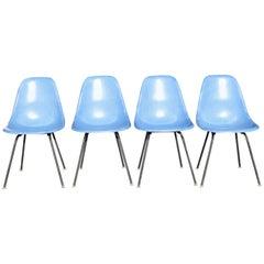 Set of Four Eames Blue Fiberglass Side Chairs