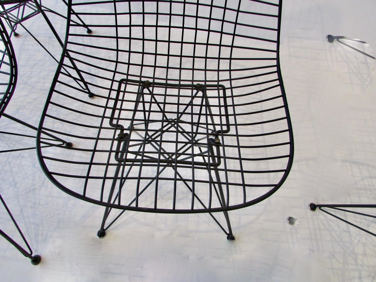 American  Set of Four Eames for Herman Miller Black DKR Wire Chairs on Eiffel Bases For Sale