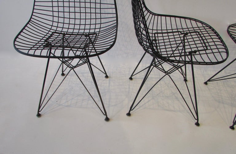 Steel  Set of Four Eames for Herman Miller Black DKR Wire Chairs on Eiffel Bases For Sale