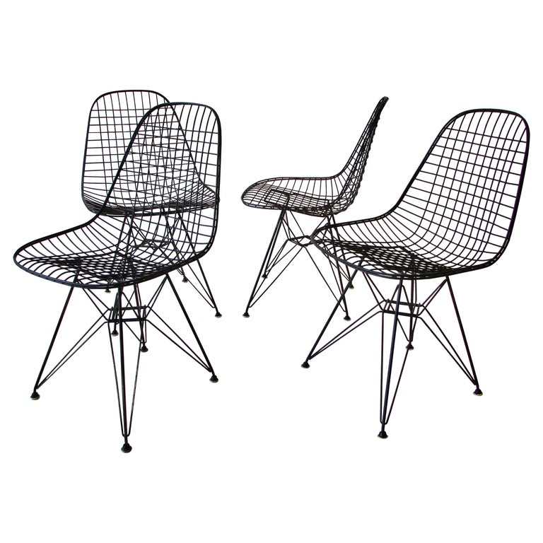 Set of Four Eames for Herman Miller Black DKR Wire Chairs on Eiffel Bases For Sale