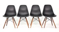 Set of Four Eames Herman Miller Black DSW Dining Chairs