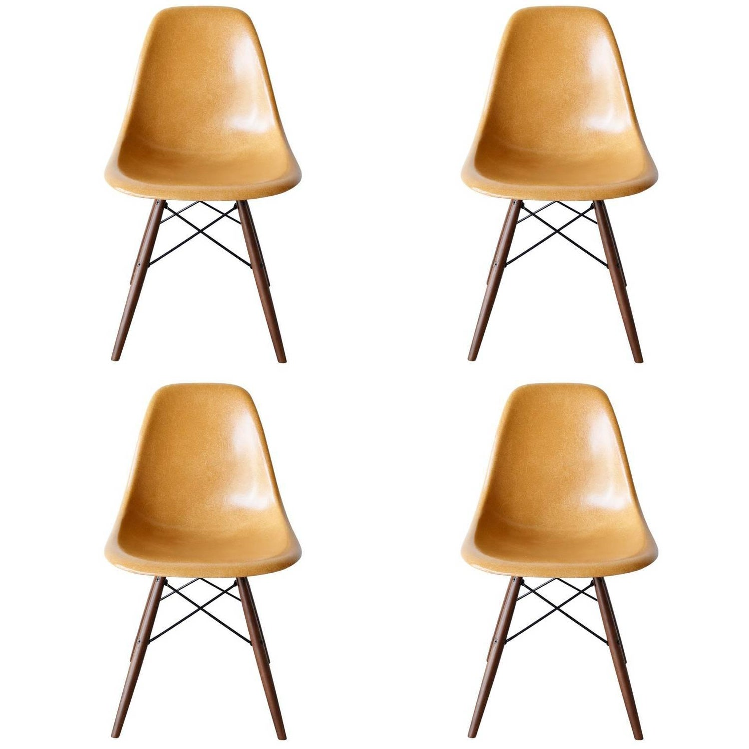 Set of Four Eames Ochre Dark DSW Herman Miller USA Dining Chairs