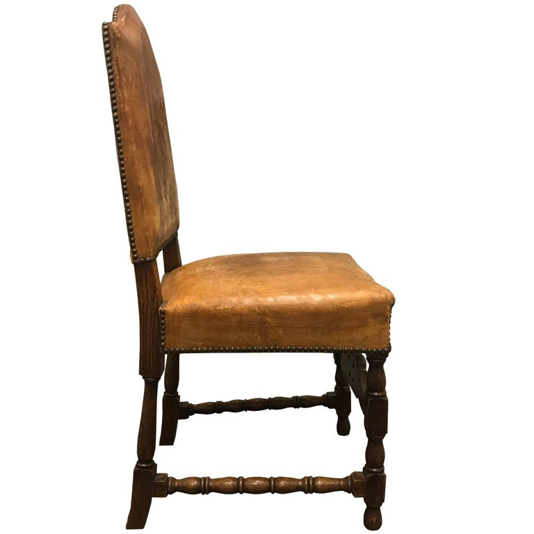 Leather Set of Four Early 20th Century Danish Dining Chairs For Sale