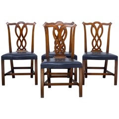 Set of Four Early 20th Century Fruitwood Dining Chairs by Nordiska Kompaniet