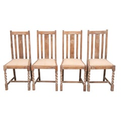Set of Four Early 20th Century Limed Oak Dining Chairs
